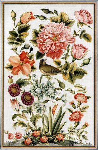 نقاشی-و-نگارگری-ایرانی-گل-مرغ-10